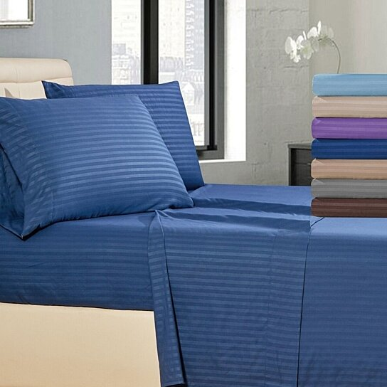 Buy Striped 4 Piece Bed Sheet Set Wrinkle Fade Stain Resistant