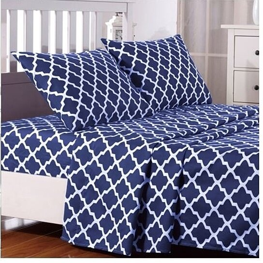 Superbe Trending Product! This Item Has Been Added To Cart 3 Times In The Last 24  Hours. 4 Piece Quatrefoil Pattern Bed Queen Sheets ...