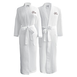 Luxor Linens Egyptian Cotton Waffle Weave Couple Robe Perfect Wedding Gift!