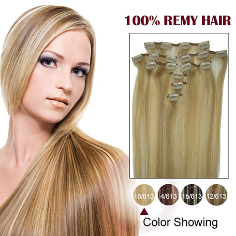 15 inches blonde highlight 18 613 9pcs clip in human
