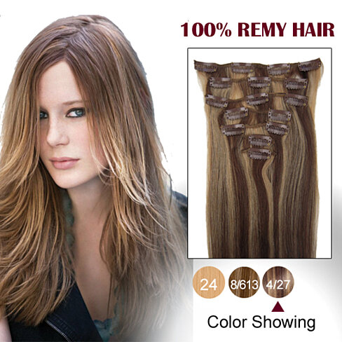 15 inches brown blonde 4 27 9pcs clip in human hair