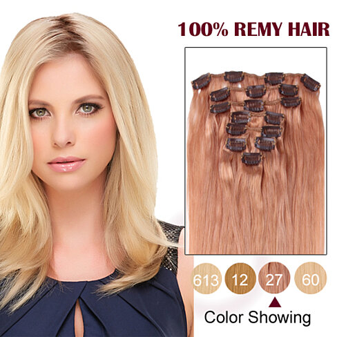 20 inches strawberry blonde 27 7pcs clip in human