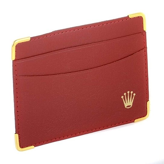 Buy Rolex Vintage Red Leather Wallet Gold Accents By
