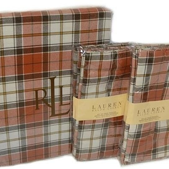 191476994a104 Buy RALPH LAUREN Harvest Plaid Rust TABLECLOTH   8 NAPKIN SET NEW by Luxury  Linens on OpenSky