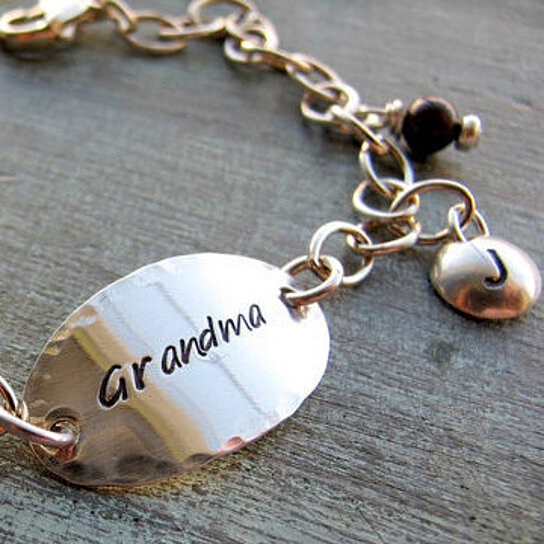Personalized Sterling Silver Grandmother S Bracelet Grandma Nana Grandchildren Grandkids Mommy Initials By Designs Dawn Renee On Opensky