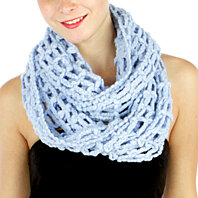 Infinity Scarf BOLD Thick Solid ROPE in Beautiful Sweet Fresh color skyBlue!