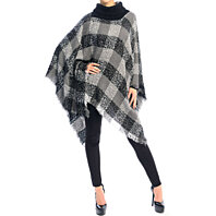 Poncho knitted Turtle Neck Check Print Super Cute, Trending Now!
