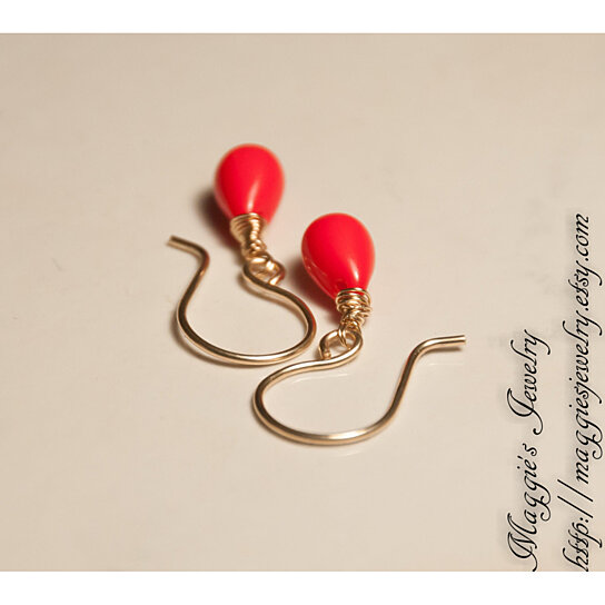 Buy Poppy Red Drop Earrings Red Glass Dangle Earrings