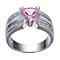 10K White Gold Filled Pink Sapphire CZ Diamonds Ring