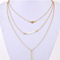 Gold Tone Beads Bar Multilayered Pendant Necklace