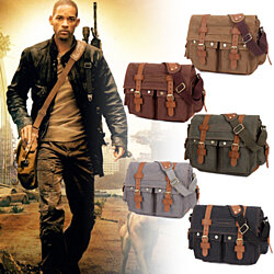 Canvas Leather Satchel Military Messenger Bag