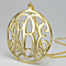 Celebrity Style Personalzie Gold Plated Circle Initials Monogram Necklace