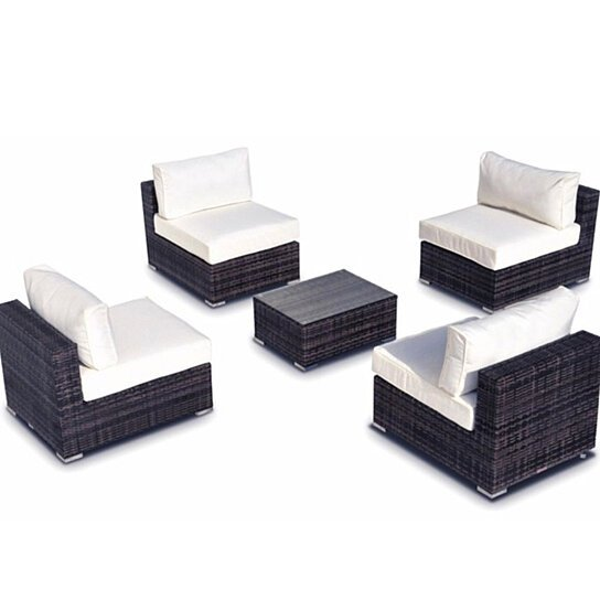 Buy Milano 5-Pc Outdoor New Resin Wicker Sofa Sectional Couch Set by ...