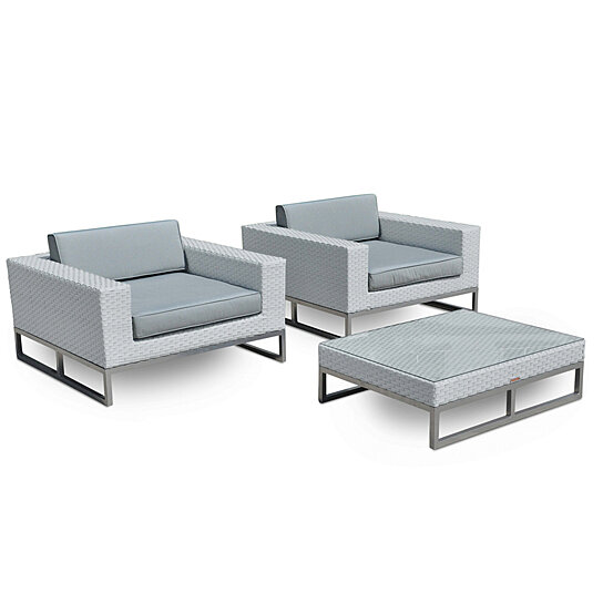 Monaco 3 Pc Outdoor Patio Furniture All Weather Wicker Arm Chair Set By Mangohome On Dot Bo