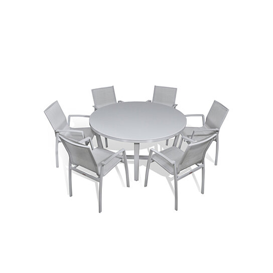 Outdoor Patio Furniture Aluminum Gray Frosted Gl 7 Pc Round Dining Table Set By Mangohome On Dot Bo