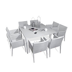 Parisia Aluminum Gray Frosted Glass 9-Piece Square Dining Table & Sling Chairs Set