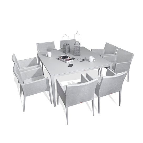 Buy Parisia Aluminum Gray Frosted Glass 9-Piece Square