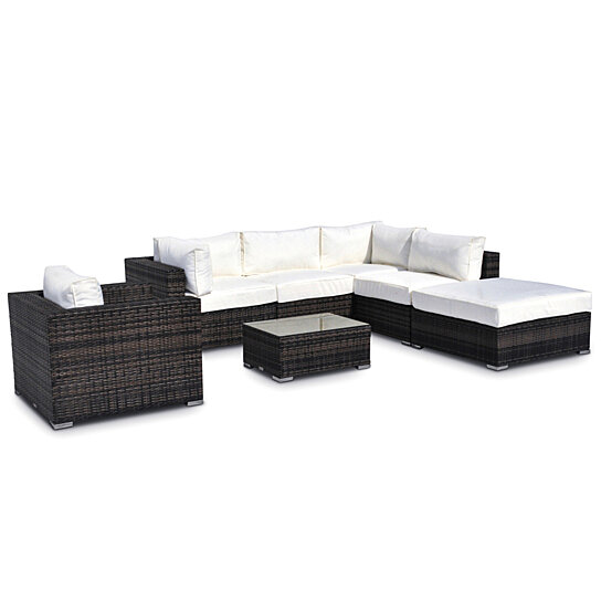 Incredible Milano 7 Pc Outdoor Patio Wicker Furniture Resin Couch Set Squirreltailoven Fun Painted Chair Ideas Images Squirreltailovenorg