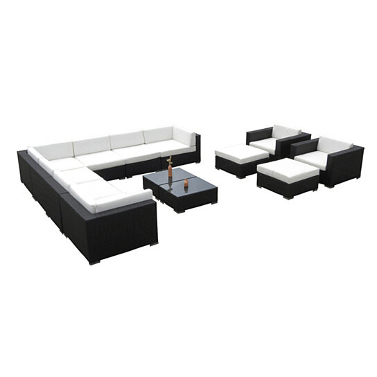 Vilano 13 Pc Outdoor Patio Wicker Furniture Resin Sectional Sofa Set