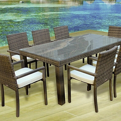 Cozumel 9 Pc Outdoor Patio Dining Table Chair Set