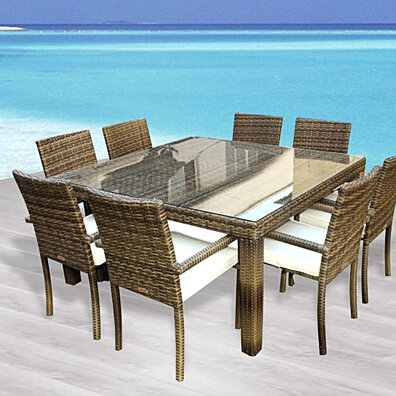 Cozumel 9 Pc Outdoor Patio Square Dining Table Chairs Set