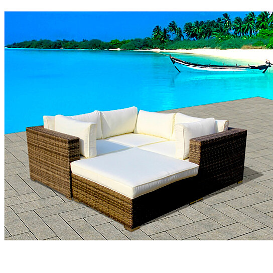 4 Piece Resin Wicker Outdoor Patio Furniture Sectional Sofa Set