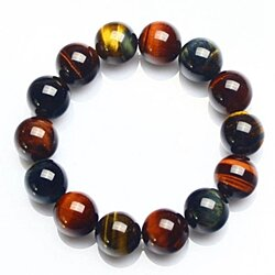 Fashion Reiki Chakra Natural Crystal Three Color Tiger Eye Stone Hand Stringed Eagle Eye Hawkeye Bead Bracelet Couple Jewelry Gifts