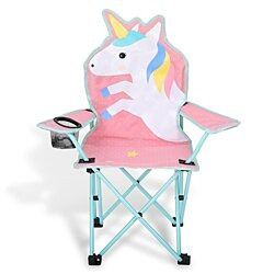 Kids Unicorn Camp Chair Outdoor Folding Camping Chair with Cup Holder