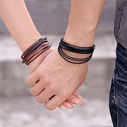 Casual Leather Wax Rope Bracelets Multilayer Bracelet Bangle Leisure Couple