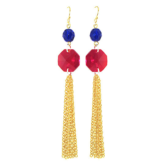 Buy Red And Blue Tassel Earrings By Manic Trout On Opensky