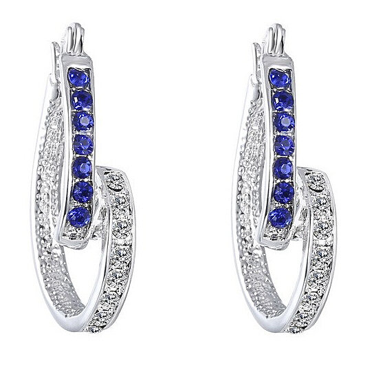 Silver Plated Blue Inside Out Twist Crystal Hoop Earrings Made With Swarovski Elements By Marcus Emporium On Opensky