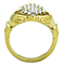 1.02 Ct Crystal 14K Gold Plated Stainless Steel Irish Claddagh Ring Women's Size 5-10