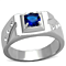 1.02 Ct Round Cut Blue Montana Cz Stainless Steel Fashion Ring Men's Sizes 8-13