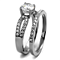 1.25 Ct Round Cut AAA Cz Stainless Steel Wedding Ring Band Set Women's Size 5-10