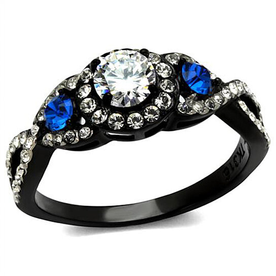Buy 1 26 Ct Clear & Blue Cz Halo Stainless Steel Black Engagement Ring Wo