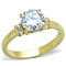 1.33 Ct Zirconia Stainless Steel 14K Gold Plated Engagment Ring Women's Size 5-10