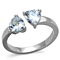 1.48 Ct Heart Shape Zirconia Stainless Steel Promise/Cuff Ring Women's Size 5-10