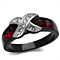 1.50 Ct Ruby Red & Clear Cz Black Stainless Steel Fashion Ring Size Women's 5-10