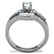 1.64 Ct Round & Baguette Cut Zirconia Stainless Steel Engagement Ring Size 5-10