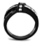 1.75 Ct Clear Princess Cut Zirconia Black Stainless Steel Fashion Ring Sz 5-10