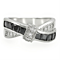 1.75 Ct Jet Black & Clear Cubic Zirconia Stainless Steel Fashion Ring Women's Size 5-10