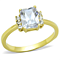 1.77Ct Emerald Cut Cz Stainless Steel Gold Plated Engagement Ring Womens Sz 5-10