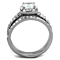 1.8 Ct Halo Princess Cut Cz Stainless Steel Wedding Ring Set Women's Size 5-10