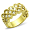 1.87 Ct Crystal 14K Gold Ion Plated Stainless Steel Cocktail Fashion Ring Size 5-10