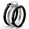 1.90 Ct Round Cut Cz Black Stainless Steel Wedding Ring Set Women's Size 5-10