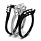 1.95Ct Marquise Cut Zirconia Black Stainless Steel Wedding Ring Set Women's 5-10