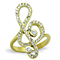 14K Gold Plated Stainless Steel Crystal Musical Note Fashion Ring Women's Size 5-10