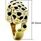 14K Gold Plated Stainless Steel Multi-Color Crystal Cocktail Tiger Ring Size 5-10