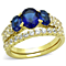 14K Gold Plated Women's Oval Cut Blue Montana AAA Cz Wedding Ring Set Size 5-10