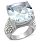 18Mm Large Cushion Cut Cz Stainless Steel Engagement Ring Women's Size 5-10